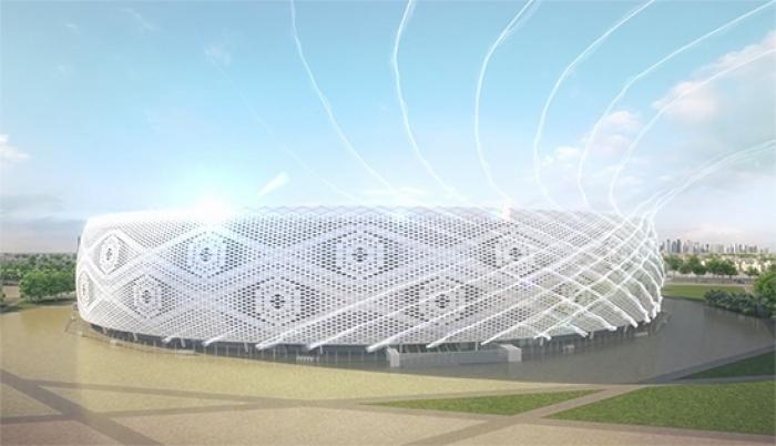 Dit is het Al Thumama Stadion voor het WK 2022 in Qatar