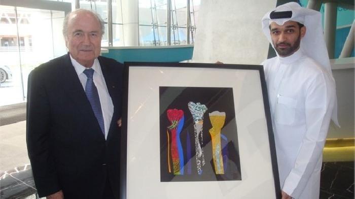 FIFA voorzitter Blatter brengt een bezoek aan Doha in Qatar